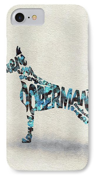 IPhone Case featuring the painting Doberman Pinscher Watercolor Painting / Typographic Art by Ayse and Deniz
