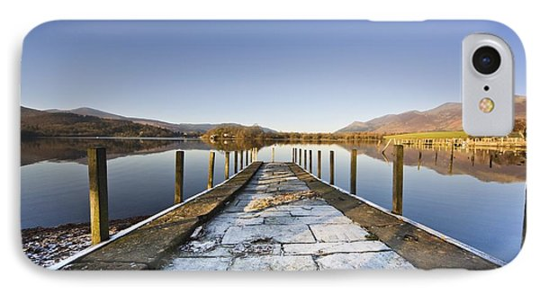 Dock In A Lake, Cumbria, England IPhone Case by John Short