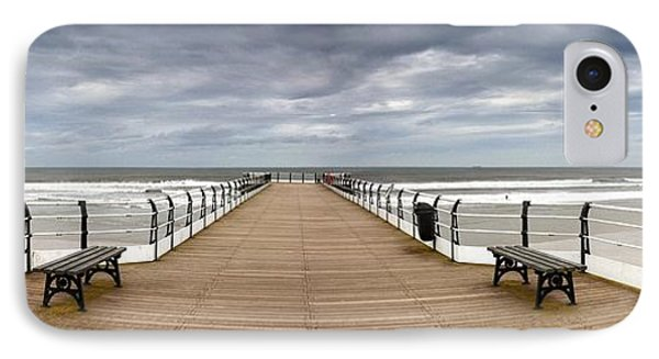Dock With Benches, Saltburn, England Phone Case by John Short