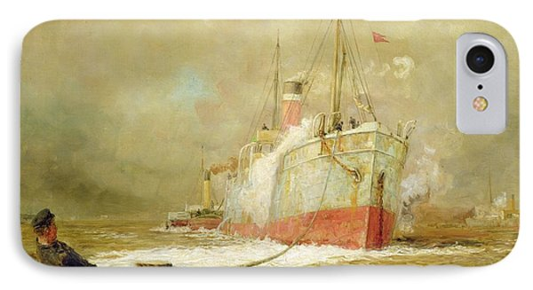 Boat iPhone 7 Case - Docking A Cargo Ship by William Lionel Wyllie