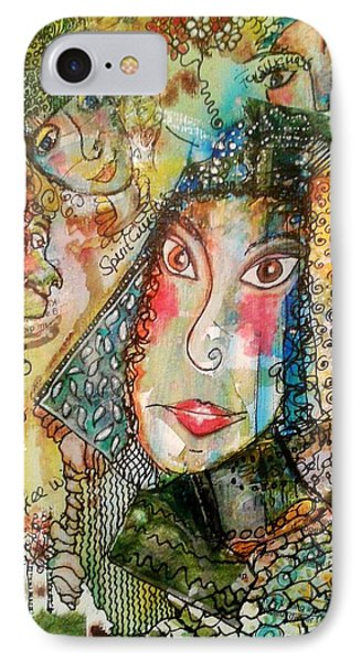 IPhone Case featuring the mixed media Doe Eyed Girl And Her Spirit Guides by Mimulux patricia no No