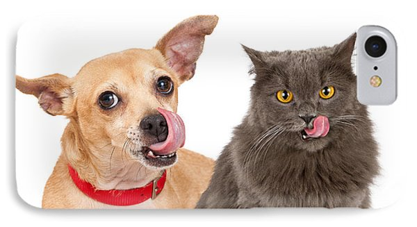 Dog And Cat Licking Lips IPhone Case by Susan Schmitz