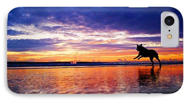 Dog Chasing Stick At Sunrise IPhone Case