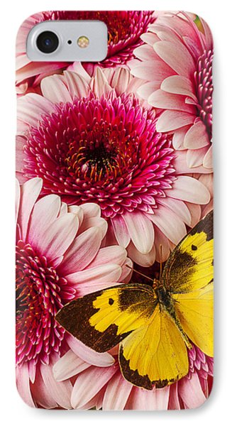 Dog Face Butterfly On Pink Mums IPhone Case by Garry Gay
