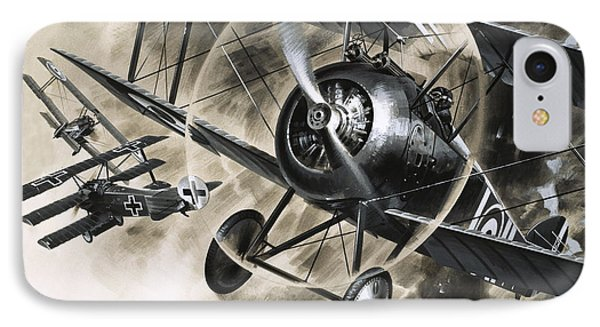 Dog Fight Between British Biplanes And A German Triplane IPhone Case by Wilf Hardy
