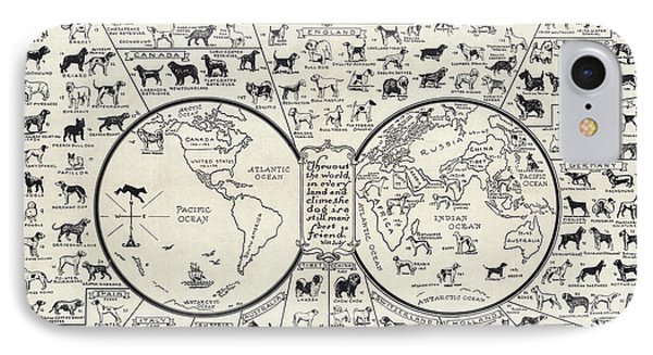 Dog Lovers Map 1936 IPhone Case by Daniel Hagerman