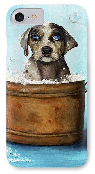 Dog N Suds Phone Case by Leah Saulnier The Painting Maniac