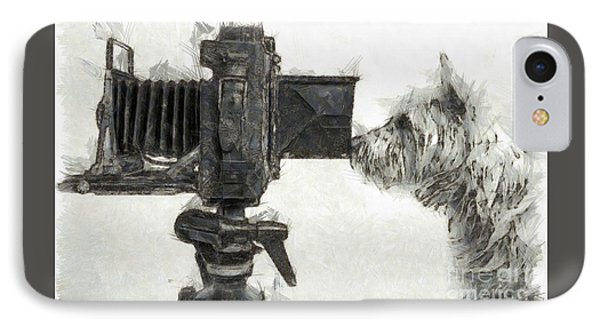 Dog Photographer Pencil IPhone Case by Edward Fielding