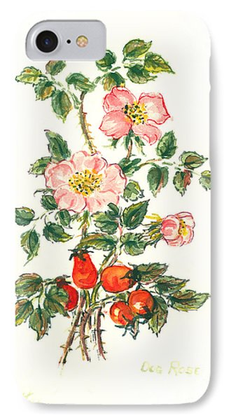 Dog Rose IPhone Case by Nell Hill