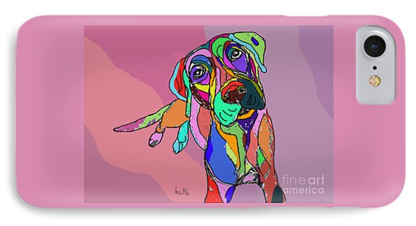 Dog Sketch Psychedelic  01 IPhone Case by Ania Milo