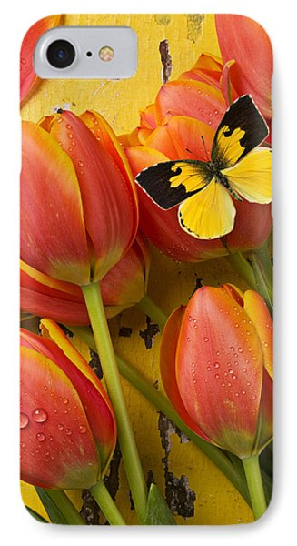 Dogface Butterfly And Tulips Phone Case by Garry Gay