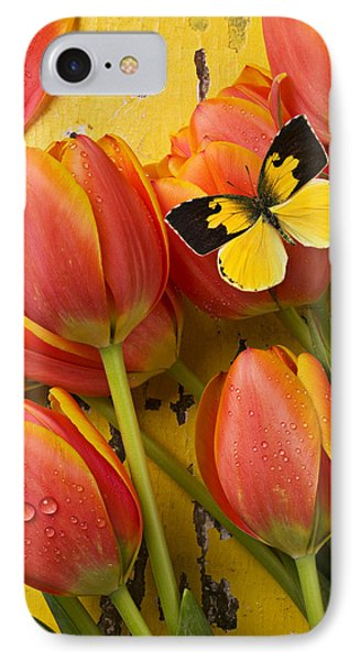 Dogface Butterfly And Tulips IPhone Case by Garry Gay