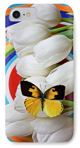 Dogface Butterfly On White Tulips Phone Case by Garry Gay