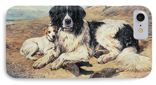 Dogs Watching Bathers Phone Case by John Emms