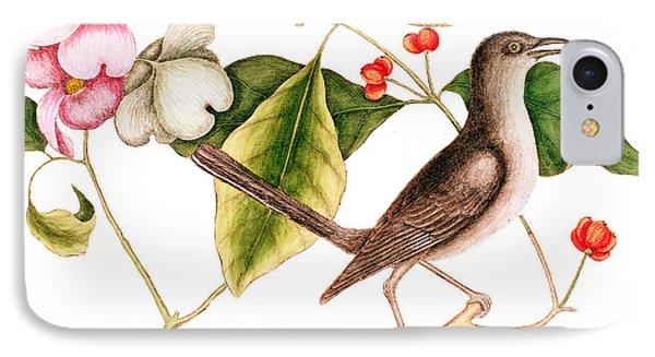 Dogwood  Cornus Florida, And Mocking Bird  IPhone Case by Mark Catesby
