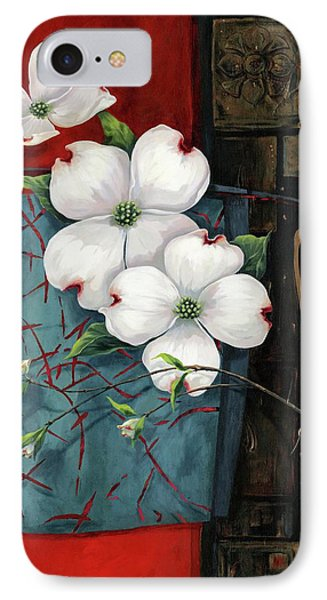 Dogwood Teal And Gold Phone Case by Lucy West
