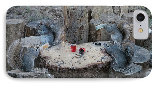 Doing Some Drinking On The Log IPhone Case by Dan Friend