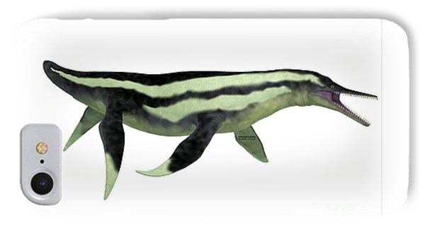 Dolichorhynchops Plesiosaur On White Phone Case by Corey Ford