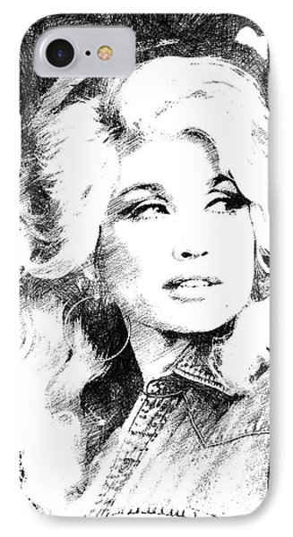 Dolly Parton Bw Portrait IPhone Case by Mihaela Pater