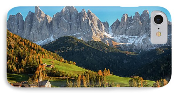 Dolomite Village In Autumn IPhone Case by IPics Photography