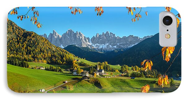 Dolomites Mountain Village In Autumn In Italy IPhone Case by IPics Photography