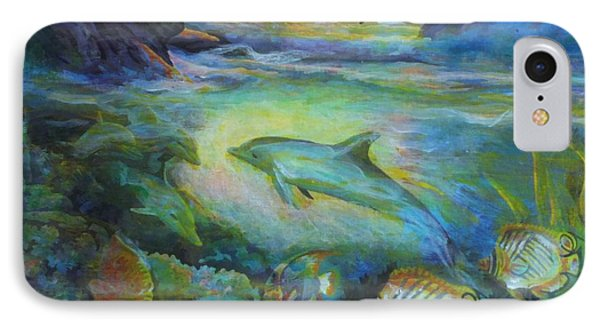 IPhone Case featuring the painting Dolphin Fantasy by Denise Fulmer