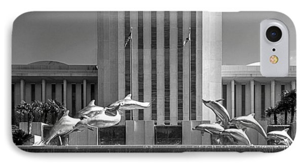 Dolphin Fountain In Black And White Phone Case by Frank Feliciano