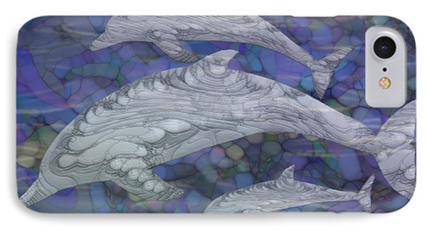 Dolphins - Beneath The Waves Series IPhone Case by Jack Zulli