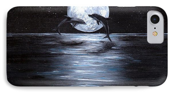 Dolphins Dancing Full Moon IPhone Case by Bernadette Krupa