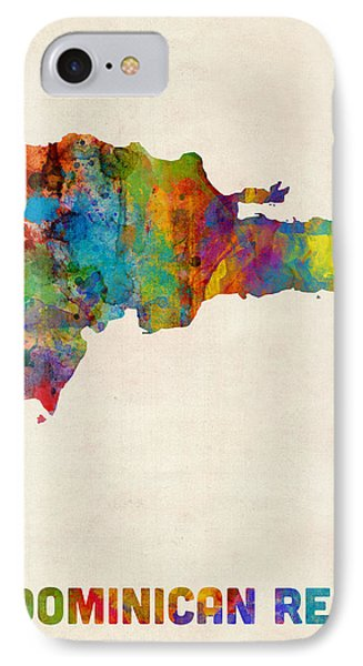 Dominican Republic Watercolor Map IPhone Case by Michael Tompsett