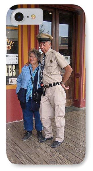 Don Knotts Look-alike With Fan Allen Street Tombstone Arizona 2004 IPhone Case by David Lee Guss