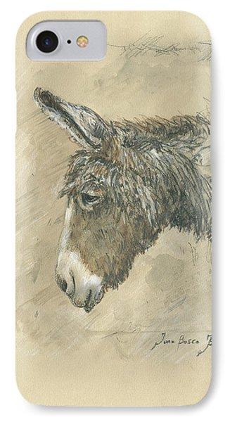 Donkey Portrait IPhone Case by Juan Bosco