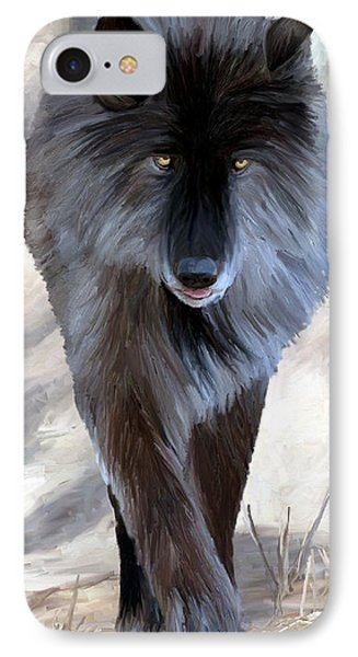 IPhone Case featuring the painting Gray Wolf Treading Carefully by James Shepherd