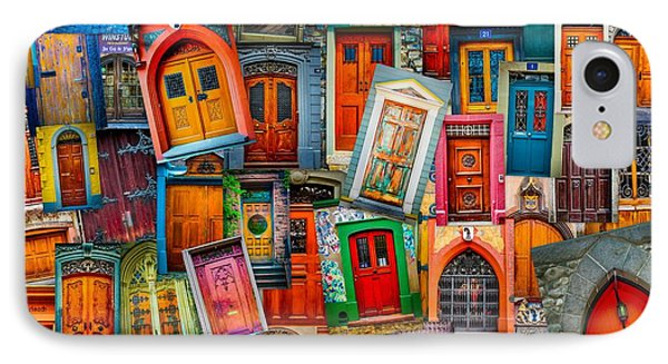 Door Collage Mashup IPhone Case by TK Goforth