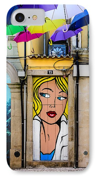 Door No 73 And The Floating Umbrellas IPhone Case by Marco Oliveira