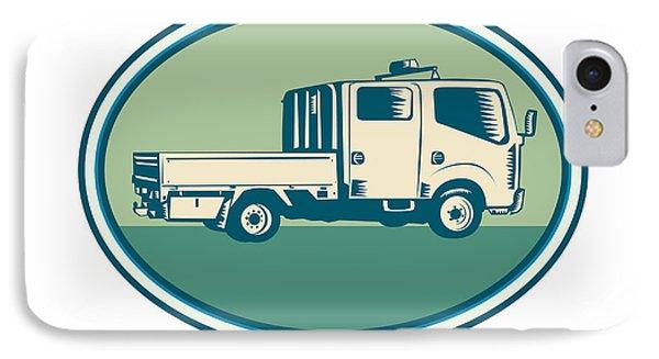 Double Cab Pick-up Truck Oval Woodcut IPhone Case by Aloysius Patrimonio