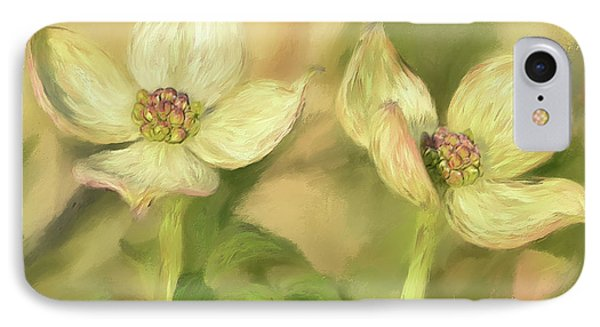 IPhone Case featuring the digital art Double Dogwood Blossoms In Evening Light by Lois Bryan