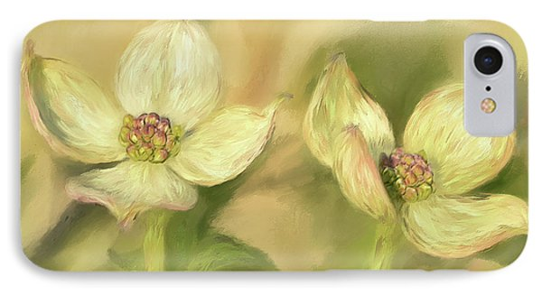 Double Dogwood Blossoms In Evening Light IPhone Case by Lois Bryan