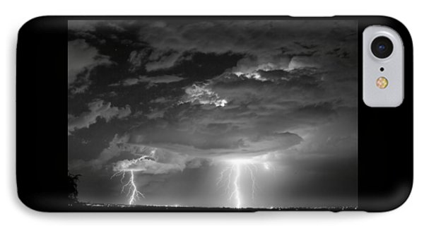 Double Lightning Strikes In Black And White IPhone Case