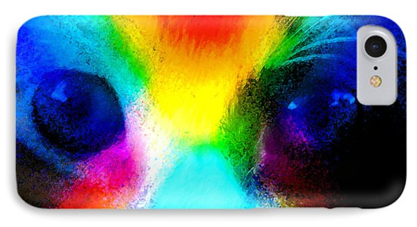 IPhone Case featuring the painting Double Rainbow Cat by David Lee Thompson