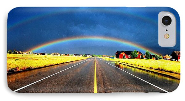 Double Rainbow Over A Road IPhone Case by Matt Harang