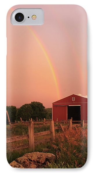 Double Rainbow Over Red Barn IPhone Case by John Burk