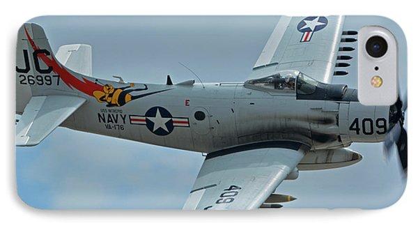 IPhone Case featuring the photograph Douglas A-1d Skyraider Nx409z Chino California April 30 2016 by Brian Lockett