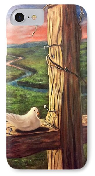 IPhone Case featuring the painting Dove On A Cross  Paloma  En Una Druz by Randol Burns