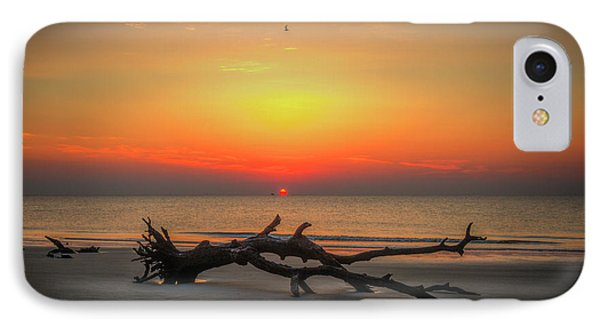 Down But Not Out Driftwood Beach Jekyll Island Georgia Art IPhone Case by Reid Callaway