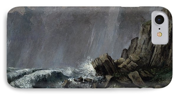 Downpour At Etretat  IPhone Case by Gustave Courbet