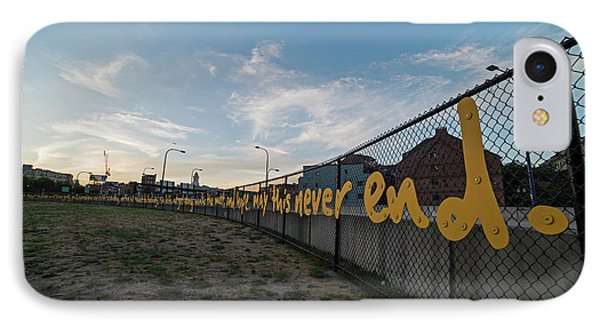Downtown Boston Saying On A Fence IPhone Case by Toby McGuire