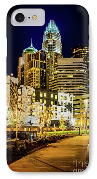 Downtown Charlotte Bearden Park At Night IPhone Case by Paul Velgos