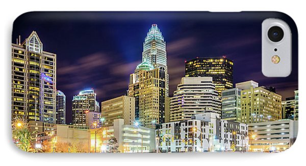 Downtown Charlotte North Carolina City At Night IPhone Case by Paul Velgos