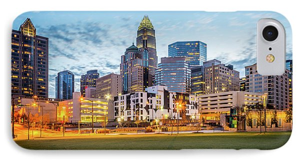 Downtown Charlotte Skyline At Dusk IPhone Case by Paul Velgos
